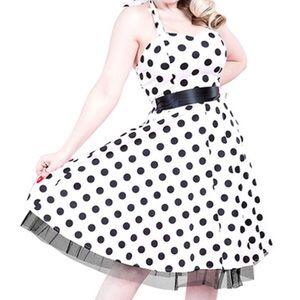 Polka dot, belted, pinup style, halter dress